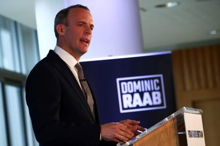 Britain's former Brexit Minister Dominic Raab speaks at the launch of his campaign for the Conservative Party leadership, in London