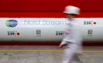 FILE PHOTO: FILE PHOTO: The logo of the Nord Stream 2 gas pipeline project is seen on a pipe at Chelyabinsk pipe rolling plant in Chelyabinsk