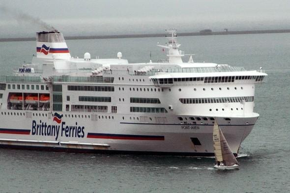 Ferry lucky! Lone yachtsman cheats death in front of 42,00 tonne boat