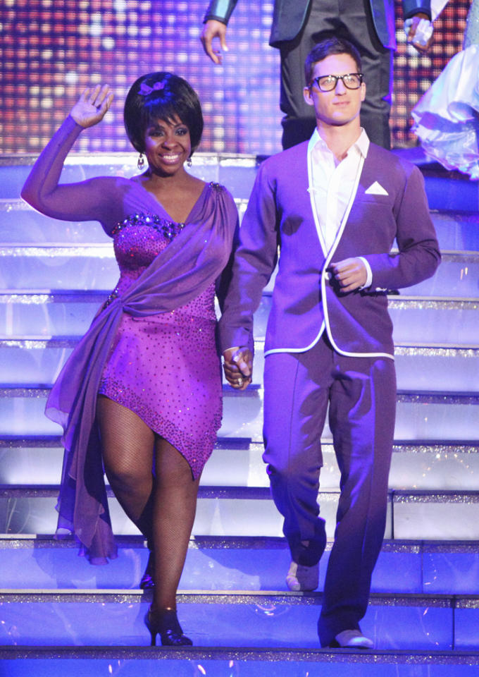 "<a target=""_blank"" href=""http://tv.yahoo.com/gladys-knight/contributor/590990"">Gladys Knight</a> and Tristan MacManus perform on ""<a target=""_blank"" href=""http://tv.yahoo.com/dancing-with-the-stars/show/38356"">Dancing With the Stars</a>."" (April 23, 2012)"