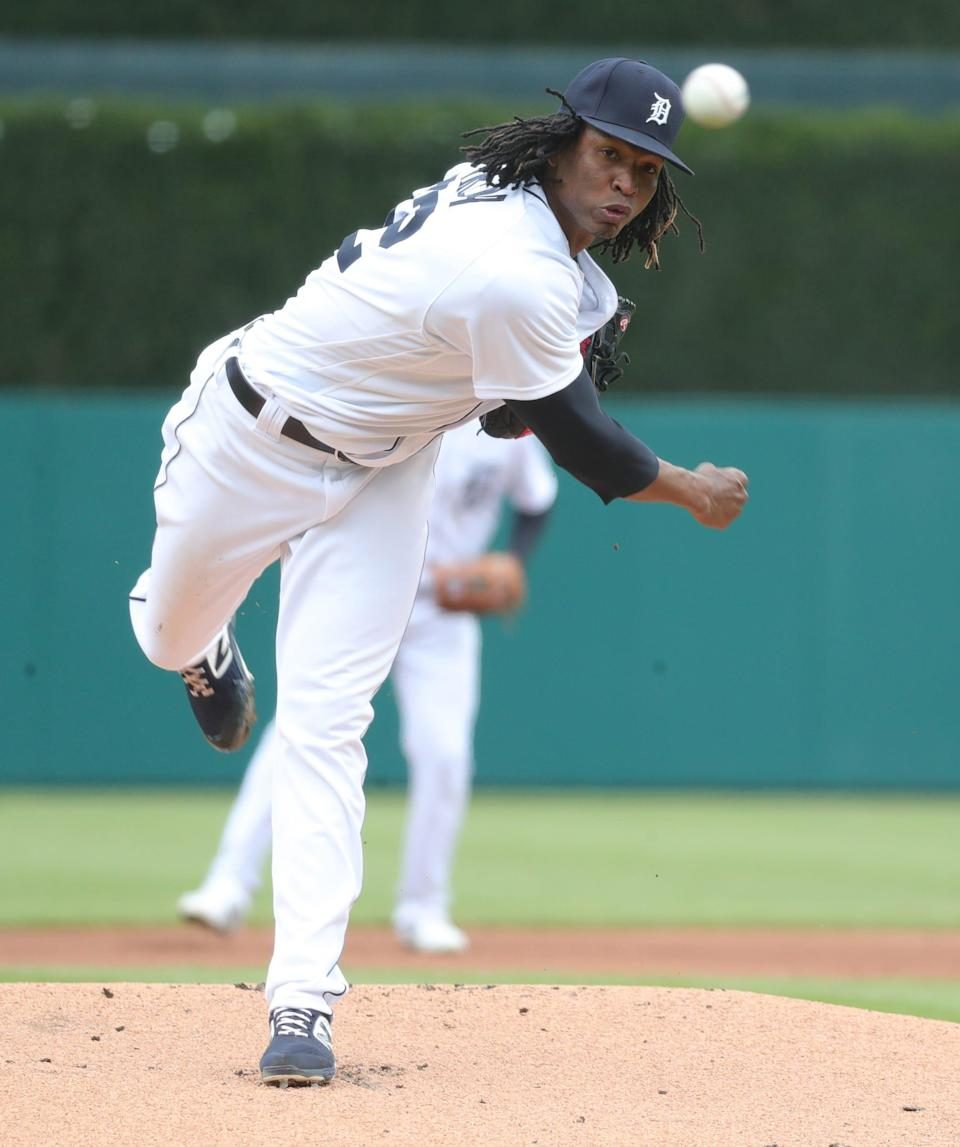 Detroit Tigers starter Jose Urena (62) pitches against the Pittsburgh Pirates during first inning action Thursday, April 22, 2021 at Comerica Park in Detroit.