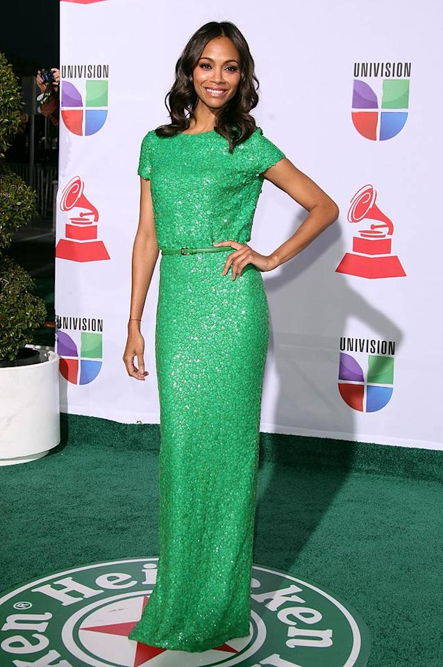 "Also spotted in a sequined Elie Saab dress this week was ""Avatar"" star Zoe Saldana, who arrived in style at the 2011 Latin Grammy Awards. Whose look do you prefer, Zoe's or Gwyneth's? (11/10/2011)"