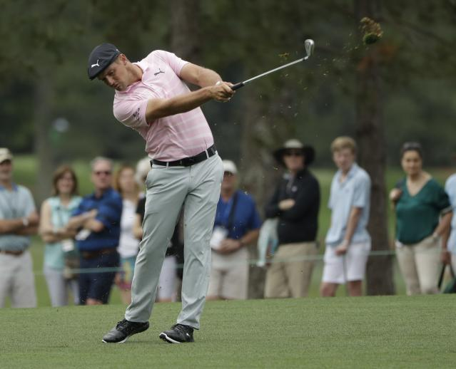 Bryson DeChambeau hits from the first hole during the third round for the Masters golf tournament Saturday, April 13, 2019, in Augusta, Ga. (AP Photo/Marcio Jose Sanchez)