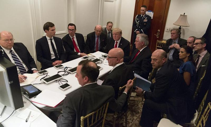 Donald Trump in his situation room in Mar-a-Lago.