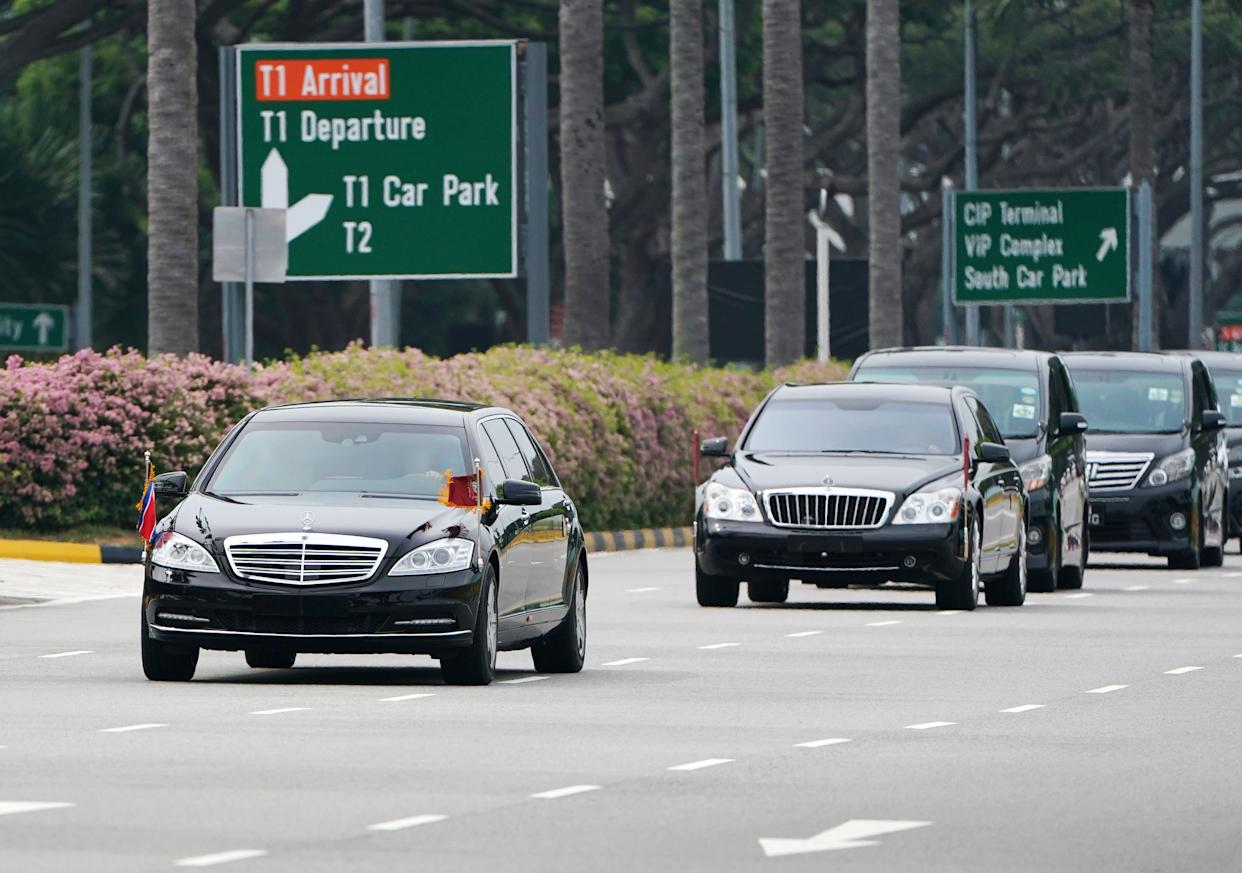 A motorcade believed to be carrying North Korea leader Kim Jong Un travels from the airport to the St. Regis Hotel in Singapore on Sunday. (Photo: Athit Perawongmetha / Reuters)