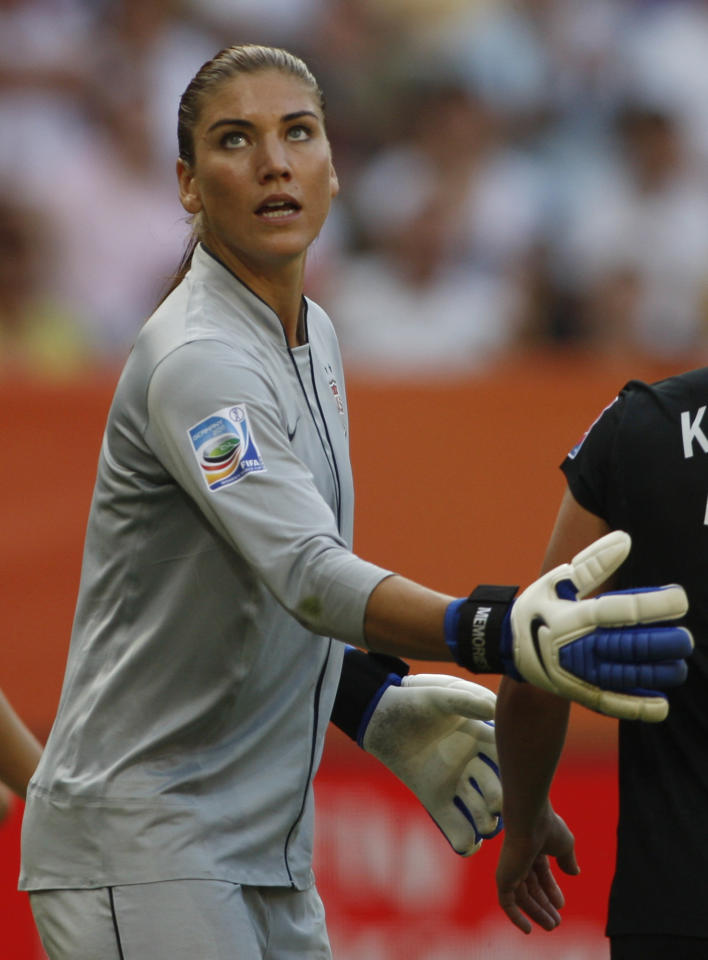 United States goalkeeper Hope Solo looks up during the quarterfinal match between Brazil and the United States at the Women's Soccer World Cup in Dresden, Germany, Sunday, July 10, 2011. (AP Photo/Petr David Josek)