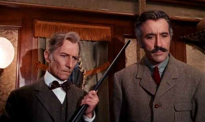 """Peter Cushing and Christopher Lee re-teamed in Eugenio Martín's 1973 train thriller """"Horror Express."""" - Credit: Cultpix"""