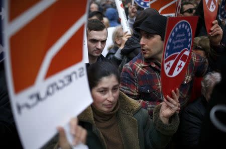 """People gather to support the opposition TV channel """"Rustavi 2"""" in Tbilisi"""
