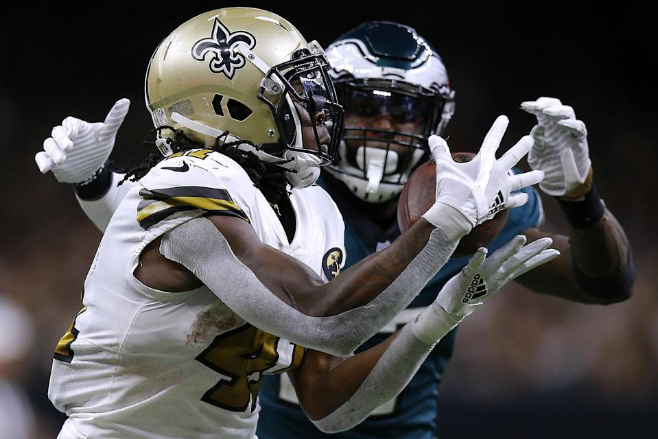 Malcolm Jenkins gave his former coach a middle-finger salute after getting burned on a big play late in Sunday's blowout loss. (Getty)