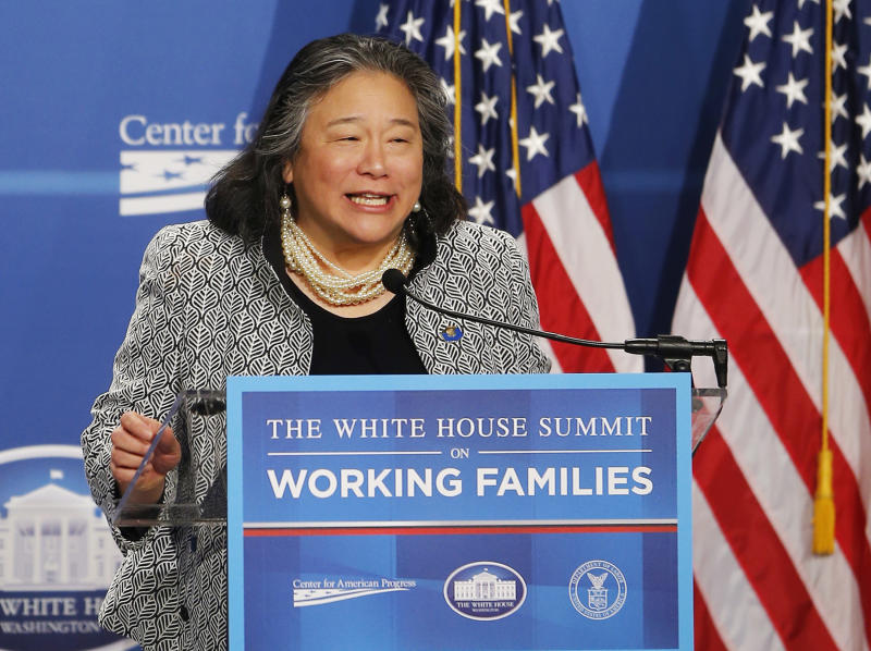 "FILE - In this June 23, 2014, file photo, Tina Tchen, chief of staff to first lady Michelle Obama, speaks at the White House Summit on Working Families at a hotel in Washington. Time's Up has called on NBC Universal to release all former employees from non-disclosure agreements that might be preventing them from speaking out about sexual misconduct. Tchen, incoming president and CEO of Time's Up, says NBC Universal didn't go far enough with its statement, first reported by MSNBC's Rachel Maddow on Friday, Oct. 25, 2019, that employees should contact the company in order to be released from any ""perceived obligation"" to remain quiet. She says NBC should simply state that everyone is free to speak without fear of retaliation. (AP Photo/Charles Dharapak, File)"