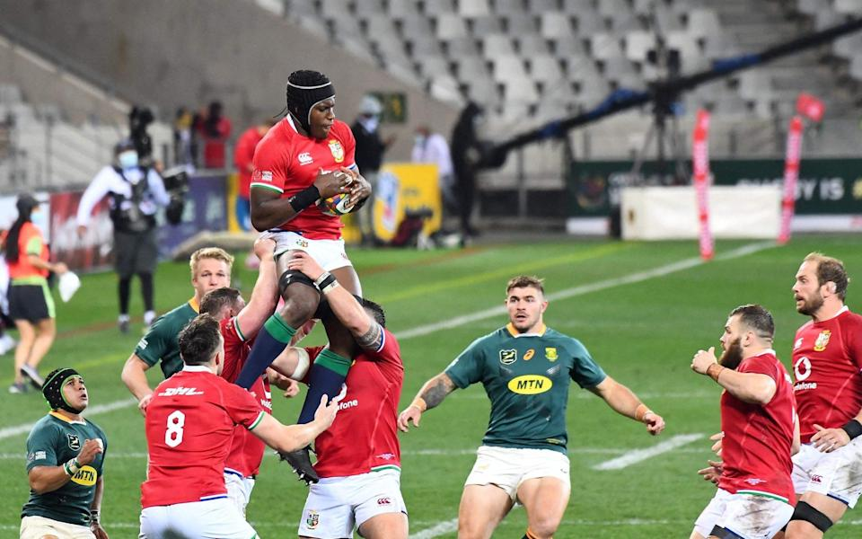 British and Irish Lions' lock Maro Itoje leaps to catch a lineout - AFP