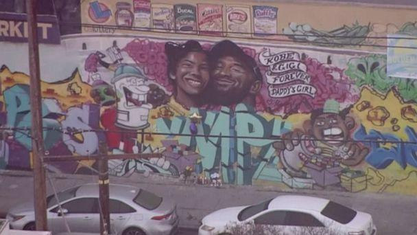 PHOTO: A mural of Kobe and Gianna Bryant emerged in Mid-Ciy, Los Angeles less than 24-hours after the two died in a helicopter crash. (KABC)