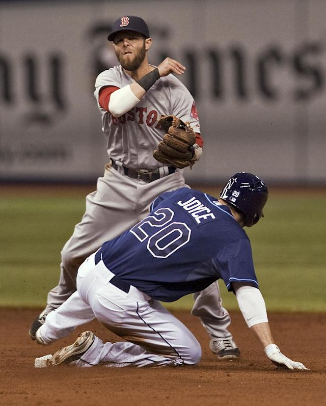 Boston Red Sox's Dustin Pedroia watches his throw after forcing out Tampa Bay Rays' Matt Joyce (20) at second base during the sixth inning of a baseball game Friday, May 23, 2014 in St. Petersburg, Fla. Wil Myers was safe at first on the play. (AP Photo/Steve Nesius)