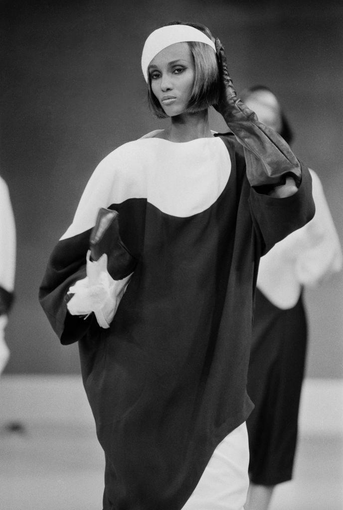 <p>Iman poses on the runway at Thierry Mugler's spring 1983 ready-to-wear show.</p>