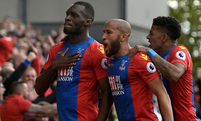 Christian Benteke celebrates scoring Crystal Palace's second goal against Leicester.