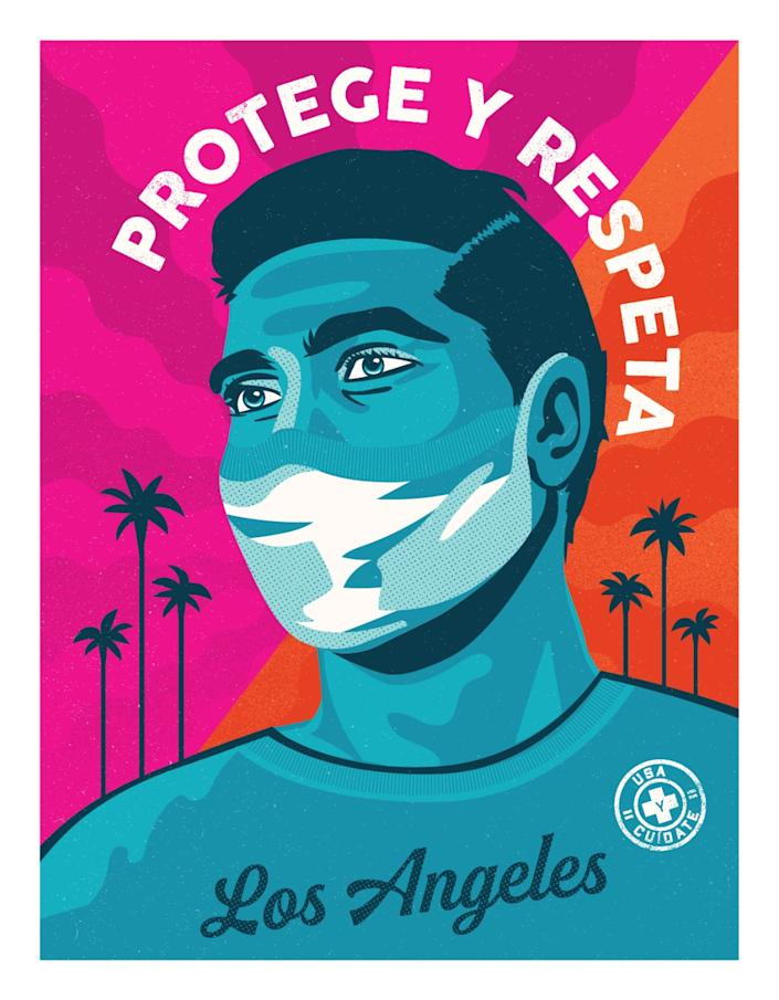 "Mayor Garcetti revealed this poster, designed by Camilla Lonis of Shepard Fairey's Studio Number One, on Wednesday. It's part of the city's new L.A. Mask Print Project. <span class=""copyright"">(Courtesy, Studio Number One)</span>"