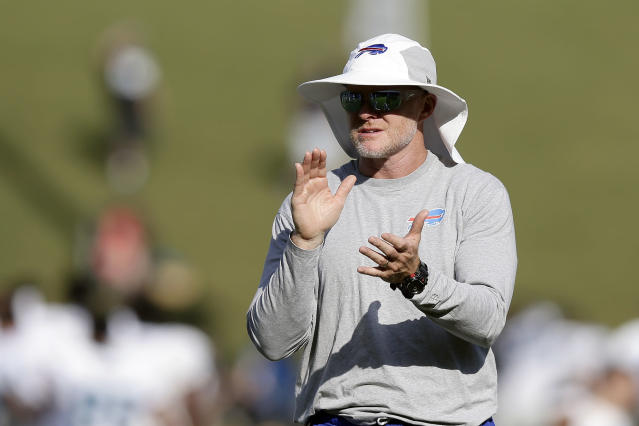 Buffalo Bills coach Sean McDermott watches his team during an NFL football training camp with the Carolina Panthers in Spartanburg, S.C., Wednesday, Aug. 14, 2019. (AP Photo/Gerry Broome)