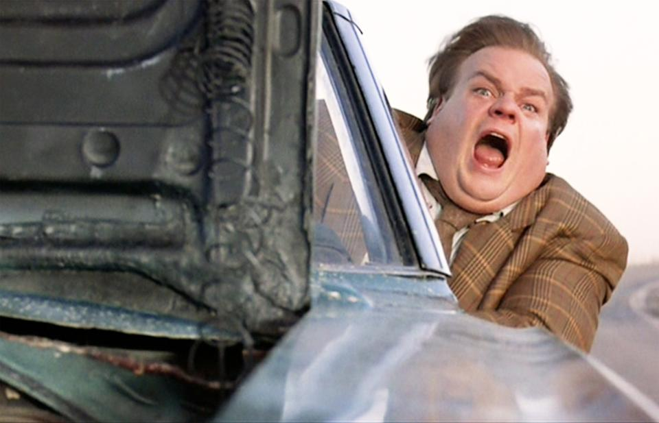 """LOS ANGELES - MARCH 31: The movie """"Tommy Boy"""", directed by Peter Segal. Seen here, Chris Farley as Tommy Callahan.  Initial theatrical release March 31, 1995. Screen capture. Paramount Pictures. (Photo by CBS via Getty Images)"""