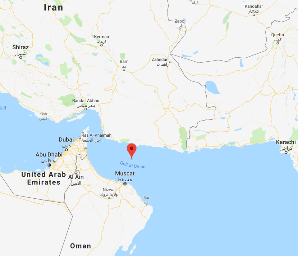 The Gulf of Oman, where the incident took place, is located between Iran and Oman. Photo: Google Maps