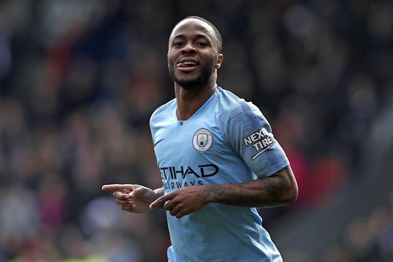 Manchester City's English midfielder Raheem Sterling celebrates after scoring their second goal during the English Premier League football match between Crystal Palace and Manchester City at Selhurst Park in south London on April 14, 2019. (Photo by Adrian DENNIS / AFP) / RESTRICTED TO EDITORIAL USE. No use with unauthorized audio, video, data, fixture lists, club/league logos or 'live' services. Online in-match use limited to 120 images. An additional 40 images may be used in extra time. No video emulation. Social media in-match use limited to 120 images. An additional 40 images may be used in extra time. No use in betting publications, games or single club/league/player publications. / (Photo credit should read ADRIAN DENNIS/AFP/Getty Images)