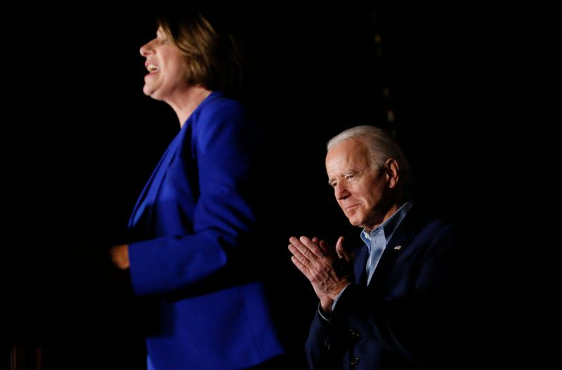 Former Democratic 2020 U.S. presidential candidate Klobuchar endorses former U.S. Vice President Biden's campaign for U.S. president during a campaign event in Dallas,