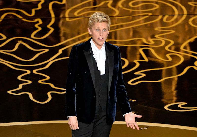 Host Ellen DeGeneres speaks onstage during the Oscars at the Dolby Theatre on March 2, 2014 in Hollywood, California. (Photo by Kevin Winter/Getty Images)