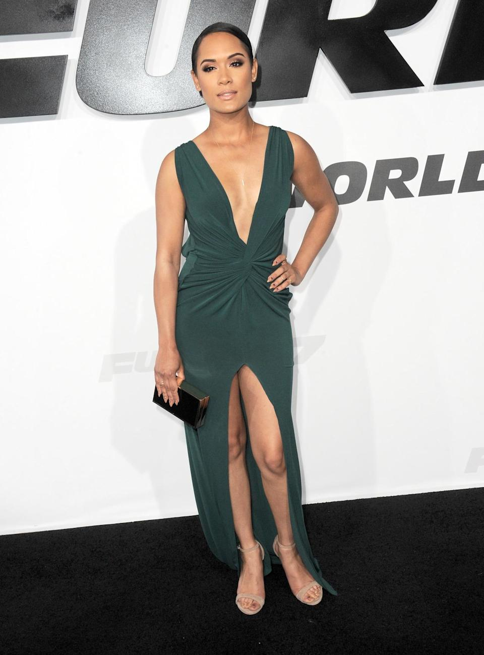 """The """"Empire"""" actress showed off her dangerous side in a revealing green gown. The plunging neckline and very high front slit are wardrobe malfunctions waiting to happen."""