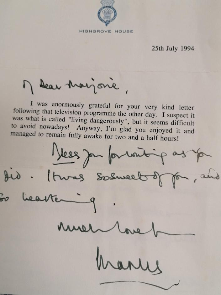 The letter from the Prince of Wales to Marjorie Dawson, after his appearance in a 1994 documentary with biographer Jonathan Dimbleby, where he admitted adultery on television. (PA)