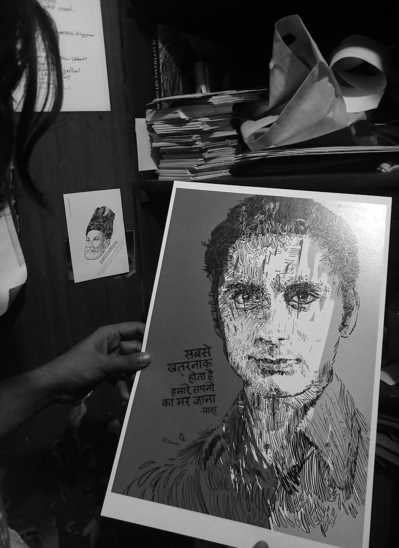 He has now started drawing Hindi poets such as Muktiodh and Paash too | A poster of Hindi poet Paash (Image: News18/Rakhi Bose)
