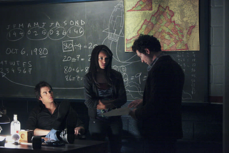 """Ian Somerhalder as Damon, Kat Graham as Bonnie and David Alpay as Professor Shane in """"We All Go a Little Mad Sometimes,"""" the sixth episode of """"The Vampire Diaries"""" Season 4."""