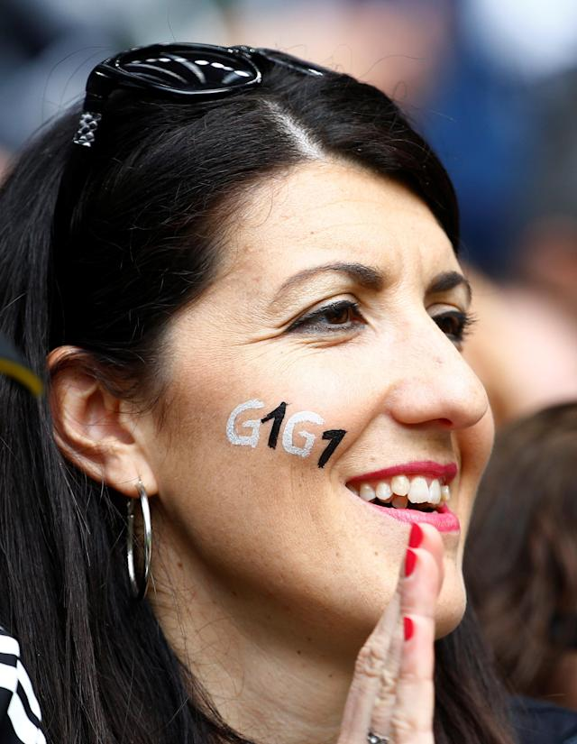 Soccer Football - Serie A - Juventus vs Hellas Verona - Allianz Stadium, Turin, Italy - May 19, 2018 Fan with face paint in reference to Juventus' Gianluigi Buffon before the match REUTERS/Stefano Rellandini
