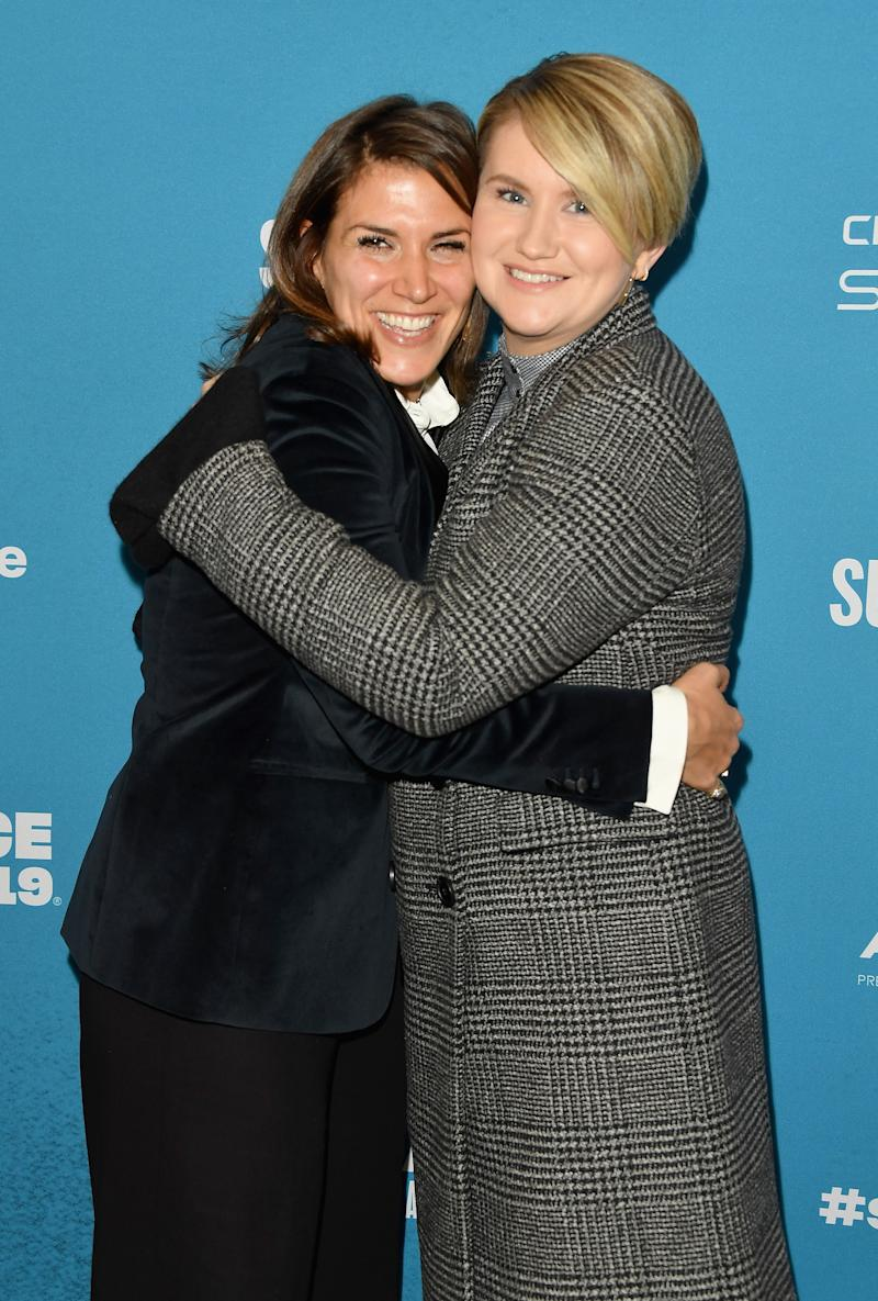 "A photo of Film Inspiration Brittany O'Neill (L) and actor and comedian Jillian Bell at the ""Brittany Runs A Marathon"" Premiere during the 2019 Sundance Film Festival at Eccles Center Theatre on January 28, 2019 in Park City, Utah."