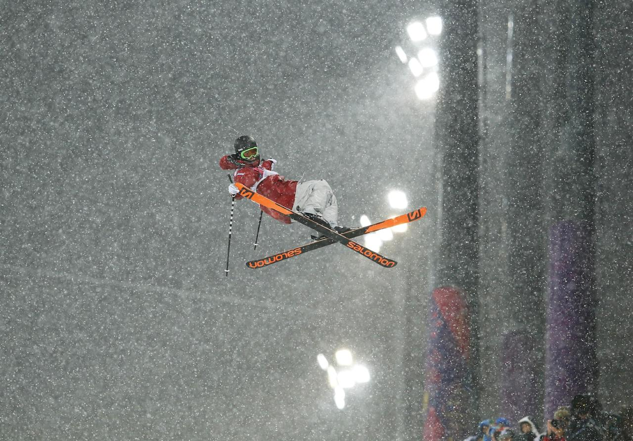 Canada's Noah Bowman gets air during the men's ski halfpipe final at the Rosa Khutor Extreme Park, at the 2014 Winter Olympics, Tuesday, Feb. 18, 2014, in Krasnaya Polyana, Russia.  (AP Photo/Sergei Grits)