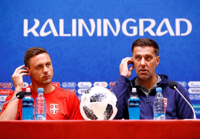 Soccer Football - World Cup - Serbia Press Conference - Kaliningrad Stadium, Kaliningrad, Russia - June 21, 2018 Serbia's Nemanja Matic and coach Mladen Krstajic during the press conference REUTERS/Fabrizio Bensch