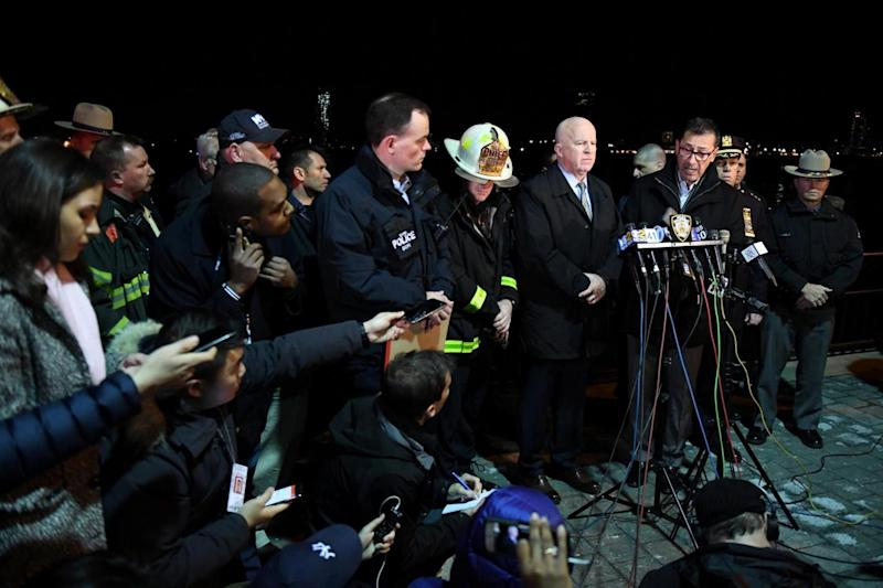 Crash: Fire Commissioner Daniel Nigro speaks during a press conference alongside NYPD Commissioner James O'Neill (REUTERS)