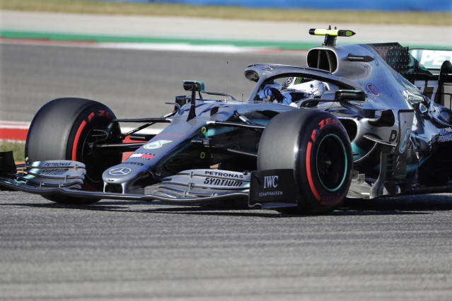 Mercedes driver Valtteri Bottas, of Finland, races his car during qualifying for the Formula One U.S. Grand Prix auto race at the Circuit of the Americas, Saturday, Nov. 2, 2019, in Austin, Texas. (AP Photo/Darron Cummings)