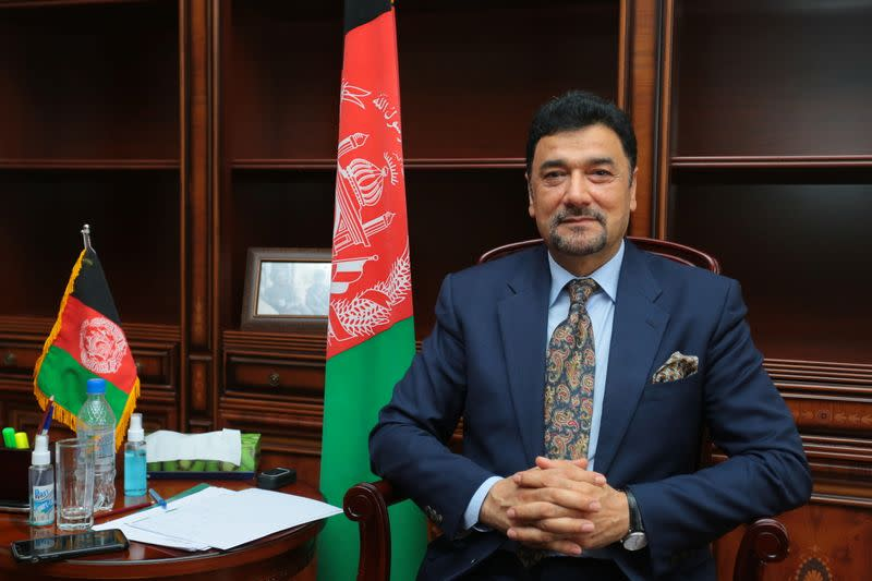 Afghan ambassador to Tajikistan Mohammad Zahir Aghbar attends an interview with Reuters in Dushanbe
