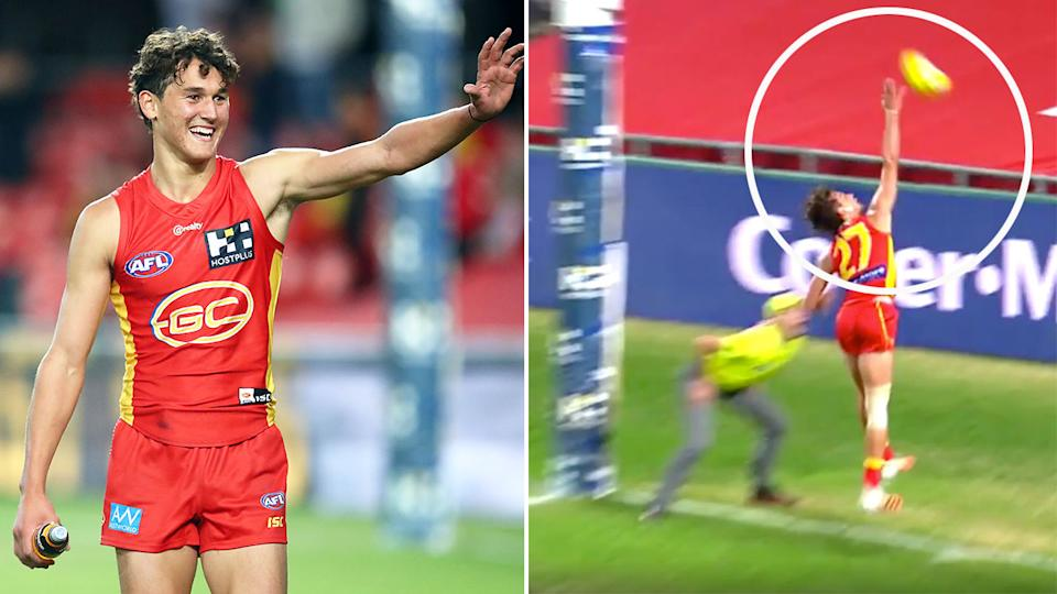 Pictured here, Gold Coast Suns midfielder Wil Powell's classy act was praised by viewers.