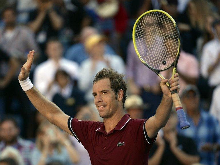 """Richard Gasquet celebrates after defeating David Ferrer at the US Open in New York on September 4, 2013. """"We know that Rafa has the confidence and it's clear that it's going to be a very difficult match,"""" Gasquet said"""