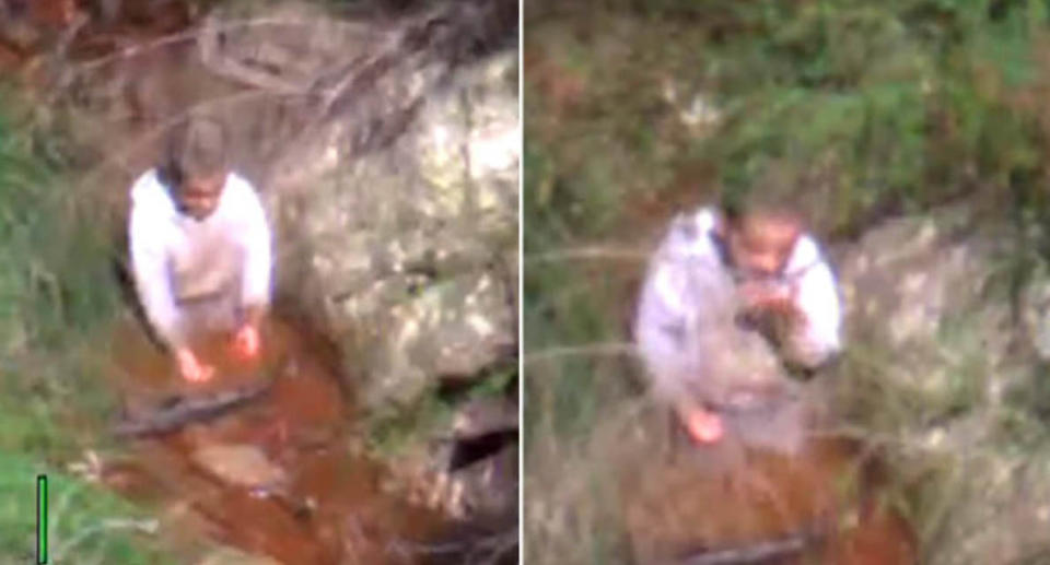 Police have shared the footage of the moment rescue crews in the air found the missing three-year-old boy on Monday morning. Source: NSW Police