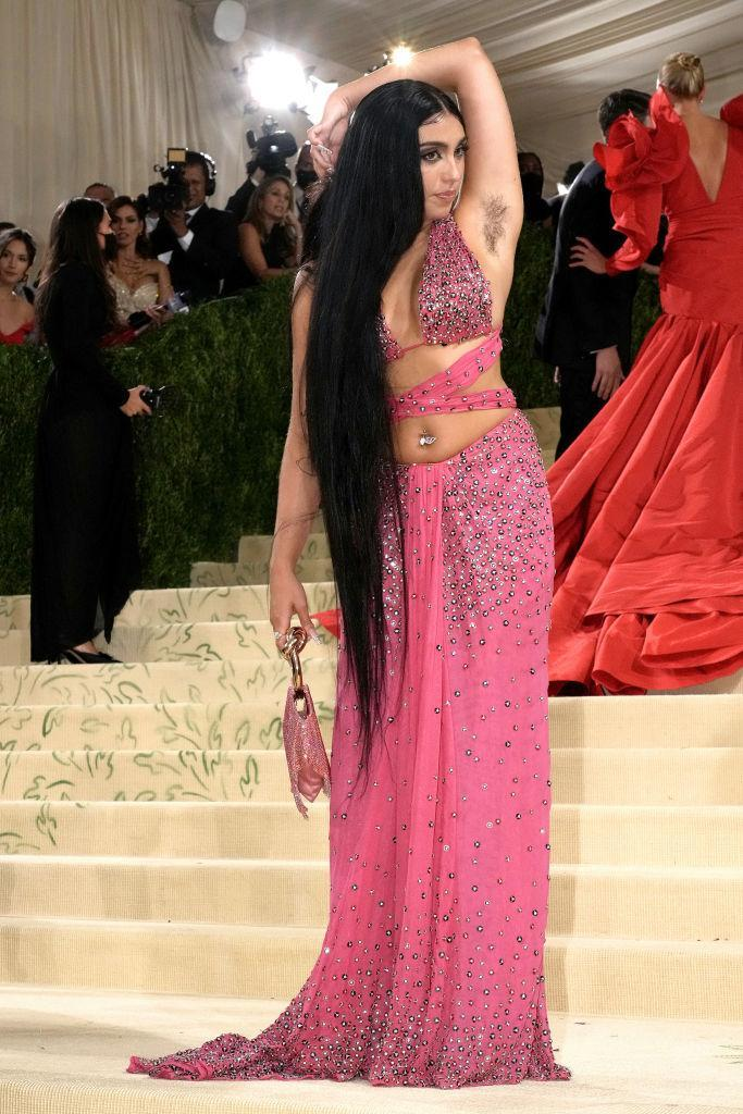 Lourdes Leon proudly displayed her armpit hair while posing for photographers. (Getty Images)