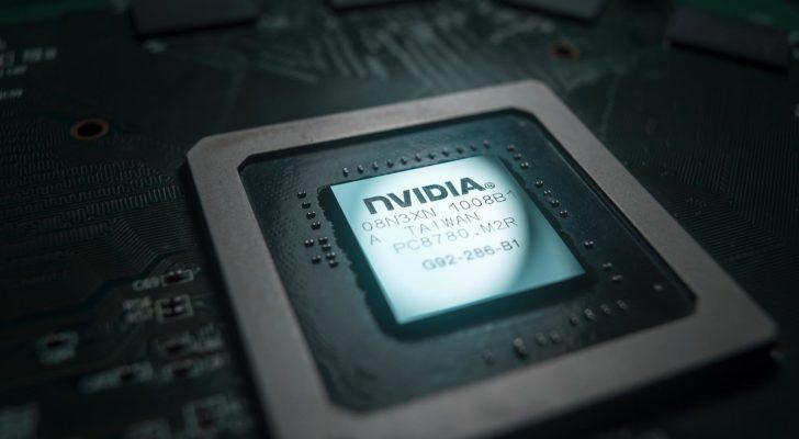 An Nvidia (NVDA) semiconductor chip on a black background.