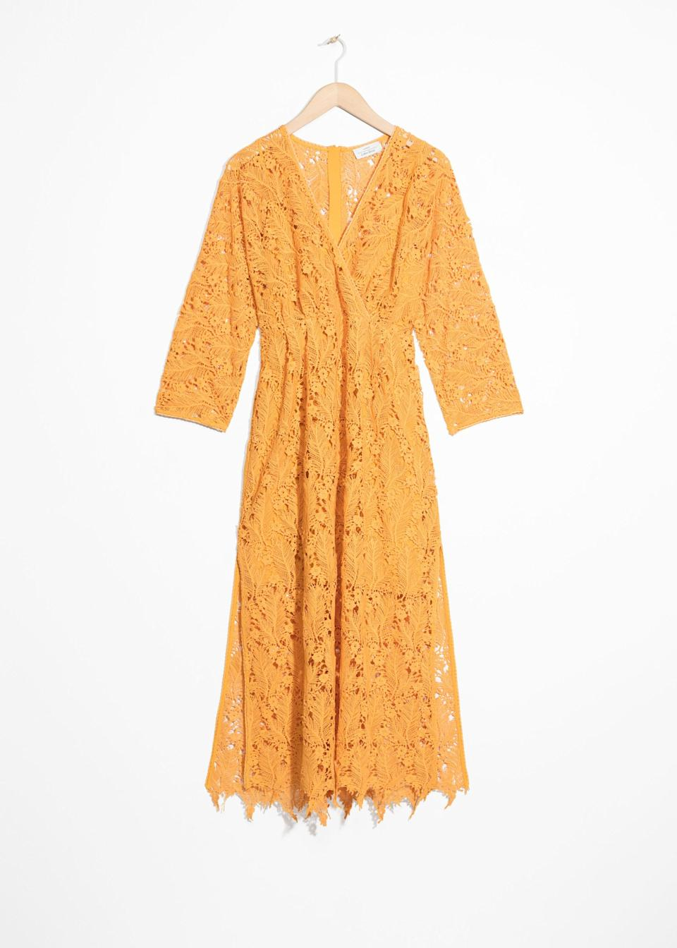 """<p>May rings in the start of wedding season and this lacy dress by Scandi favourite & Other Stories will take you through the many nuptials you'll be attending. <em><a rel=""""nofollow noopener"""" href=""""https://www.stories.com/en_gbp/clothing/dresses/midi-dresses/product.allover-lace-midi-dress-yellow.0644742001.html?utm_source=gcdL/ATRVoE&utm_medium=affiliate&utm_campaign=12499743562&utm_content=15&utm_term=461257&ranMID=41994&ranEAID=gcdL/ATRVoE&ranSiteID=gcdL_ATRVoE-edKrdgBIMc1BUS8ysvc_8g"""" target=""""_blank"""" data-ylk=""""slk:Buy here."""" class=""""link rapid-noclick-resp"""">Buy here.</a></em> </p>"""