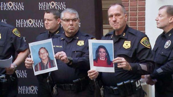 PHOTO: Houston police officers hold the photos of two suspects in the shooting of five police officers during a press conference at a hospital in Houston, Jan. 19, 2019. The suspects were identified as Dennis Tuttle, 59, and Rhogena Nicholas, 58. (KTRK)
