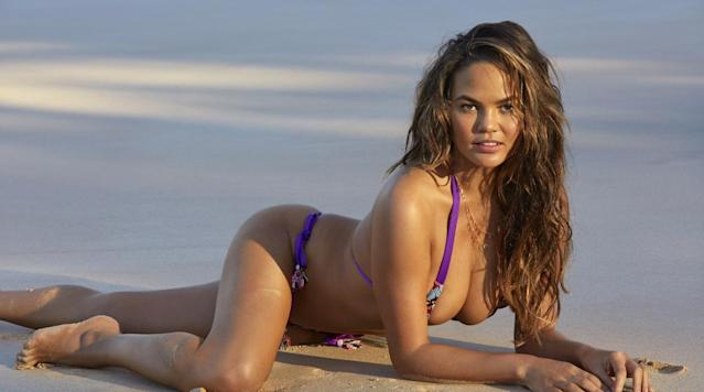 <p>Chrissy Teigen was photographed by James Macari in Sumba Island. Swimsuit by Salty Mermaid.</p>
