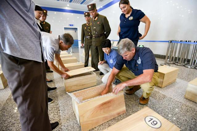 <p>Forensic anthropologists from the U.S. Defense POW/MIA Accounting Agency (DPAA) perform a preliminary field review of remains thought to be of U.S. soldiers killed in the 1950-53 Korean War in Wonsan, North Korea, July 27, 2018. Picture taken on July 27, 2018. (Photo: U.S. Forces Korea/Handout via Reuters) </p>