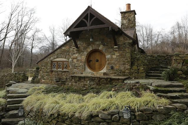 """Shown is an exterior view of the """"Hobbit House"""" Tuesday, Dec. 11, 2012, in Chester County, near Philadelphia. Architect Peter Archer has designed a """"Hobbit House"""" containing a world-class collection of J.R.R. Tolkien manuscripts and memorabilia. (AP Photo/Matt Rourke)"""