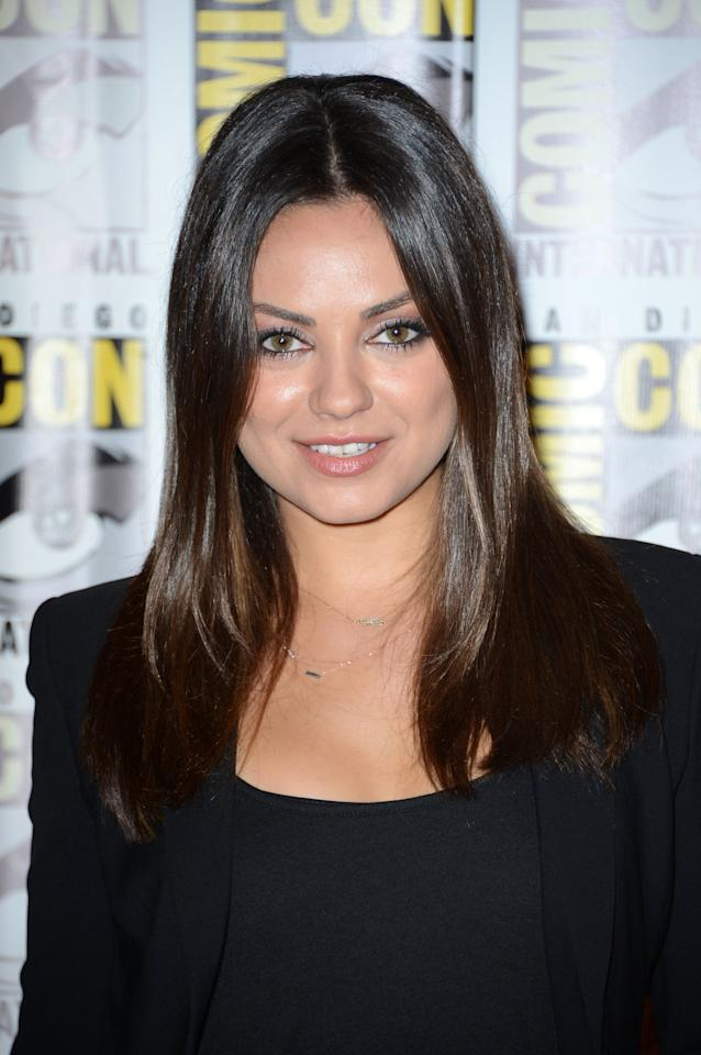 "SAN DIEGO, CA - JULY 12:  Actress Mila Kunis attends Walt Disney Studios: ""Frankenweenie,"" ""Wreck It Ralph"" and ""Oz"" during Comic-Con International 2012 held at the Hilton San Diego Bayfront Hotel on July 13, 2012 in San Diego, California.  (Photo by Frazer Harrison/Getty Images)"