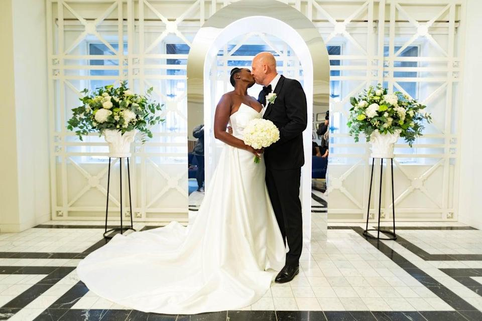 Carlene Sains (nee Noel), 40, and Danny Sains, 47, after getting married at Selfridges in London (David Parry/PA) (PA Wire)