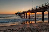 """<p><strong>Give us the wide-angle view: what kind of beach are we talking about?</strong><br> Though it's far from hidden, Manhattan Beach is the embodiment of the California lifestyle you grew up watching on TV: an uncrowded stretch of sand dotted with year-round tans, good-looking people playing volleyball, beach cruisers gliding by with toy dogs in their baskets, and cute, family-owned restaurants and bars.</p> <p><strong>How accessible is it?</strong><br> There are paid lots and street parking if you can find it. You can drive, of course, but it's just as easy to access this beach by two wheels: Take a bike ride along the Marvin Braude Bike Trail from Redondo or even <a href=""""https://www.cntraveler.com/activities/los-angeles/santa-monica-pier?mbid=synd_yahoo_rss"""" rel=""""nofollow noopener"""" target=""""_blank"""" data-ylk=""""slk:Santa Monica"""" class=""""link rapid-noclick-resp"""">Santa Monica</a>—it's exercise and sightseeing in one.</p> <p><strong>Decent services and facilities, would you say?</strong><br> There are plenty of great pubs, bike rental shops, and restaurants in the area, but you'd be remiss not to stop by Fishing With Dynamite, David LeFevre's restaurant that specializes in sustainably sourced seafood—and show-stopping key lime pie.</p> <p><strong>How's the actual beach stuff—sand and surf?</strong><br> Manhattan Beach is less crowded and cleaner and safer than the beaches closer to downtown LA.</p> <p><strong>Can we go barefoot?</strong><br> The sand is powdery and soft, and there are plenty of places to stake your claim on a slice of the beach, then park for the day with a picnic and your favorite beach toys.</p>"""